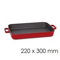 Сковорода сервировочная с 2 ручками - красного цвета - 22 х 30 см SPGK220