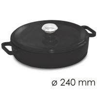 Кастрюля для тушения низкая - Ø 240 мм - черная SMTFK240S