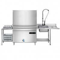 Посудомоечная машина с двойным колпаком  - включая сливной насос и очиститель от накипи + входной / выходной столик
